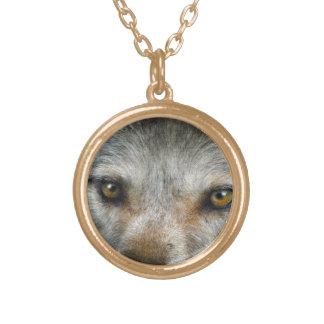 Le loup gris de regarder observe l'art de faune collier plaqué or