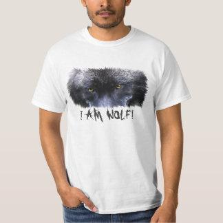 """Le loup gris observe """"je suis l'art de faune de t-shirts"""