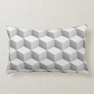 Le lt blanc gris a ombragé des cubes en regard 3D Coussin Rectangle