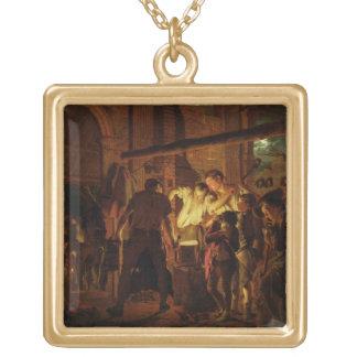Le magasin du forgeron (huile sur la toile) pendentif carré