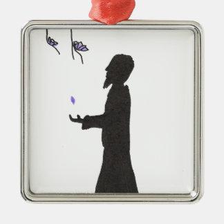 Le magicien lit les présages ornement carré argenté