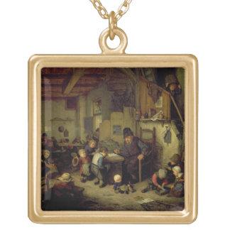 Le maître d'école, c.1662 (huile sur le panneau) collier plaqué or