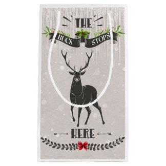 Le mâle arrête ici petit Noël Giftbag Petit Sac Cadeau