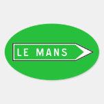 Le Mans, panneau routier, France Sticker Ovale