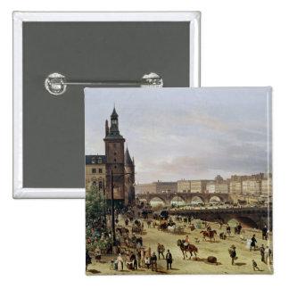 Le marché de fleur, 1832 badge carré 5 cm