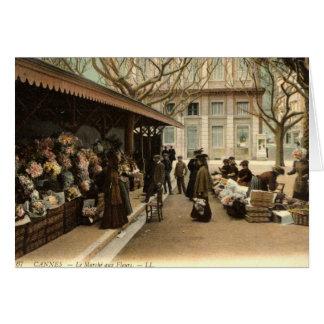 Le marché de fleur, Cannes France, cru 1915 Carte De Vœux