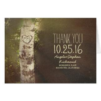 le mariage campagnard rustique d'arbre de bouleau cartes de vœux
