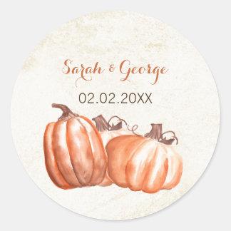 le mariage de automne de citrouilles d'aquarelle sticker rond