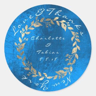 Le mariage de champagne de bleu de cobalt remercie sticker rond