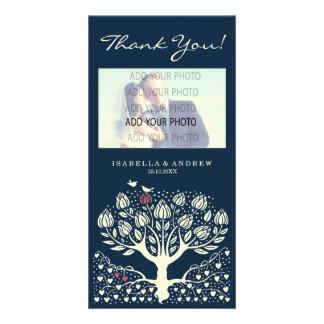 Le mariage de floraison d'arbre d'amour vous remer photocartes personnalisées