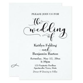 """""""Le mariage"""" de la typographie noire, simple, Carton D'invitation 12,7 Cm X 17,78 Cm"""
