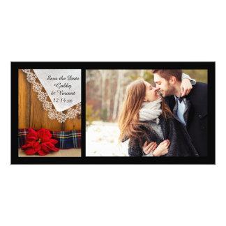 Le mariage d'hiver de poinsettia et de plaid font modèle pour photocarte