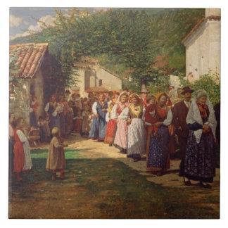 Le mariage d'or (huile sur la toile) grand carreau carré