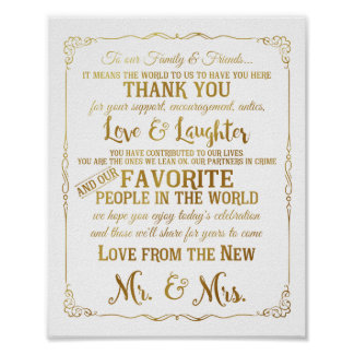 le mariage élégant de table de Merci signe l'or Posters