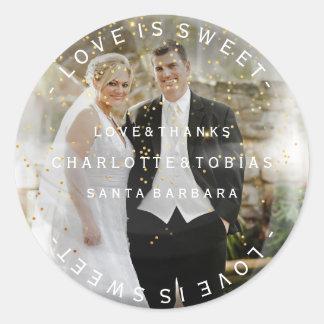 Le mariage fait sur commande remercie la photo sticker rond