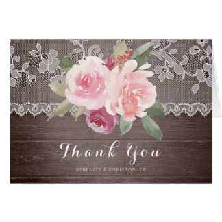 Le mariage floral de dentelle d'aquarelle rustique cartes