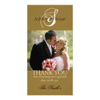 Le mariage initial d'or remercient des cartes phot photocartes