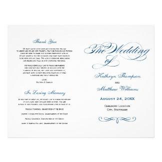 Le mariage programme la calligraphie de bleu prospectus 21,6 cm x 24,94 cm