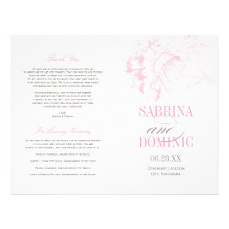Le mariage programme la pivoine rose de | florale prospectus 21,6 cm x 24,94 cm