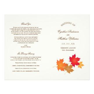 Le mariage programme le feuille d'automne de   prospectus 21,6 cm x 24,94 cm