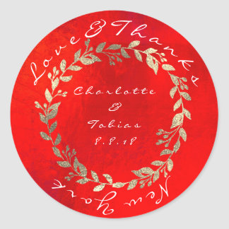 Le mariage rouge vif de champagne d'or remercie sticker rond
