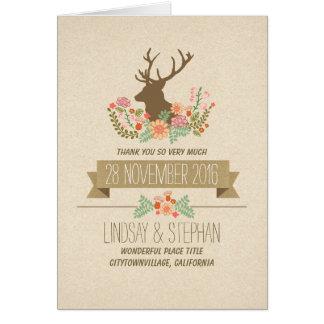 Le mariage rustique de pays de cerfs communs vous cartes de vœux