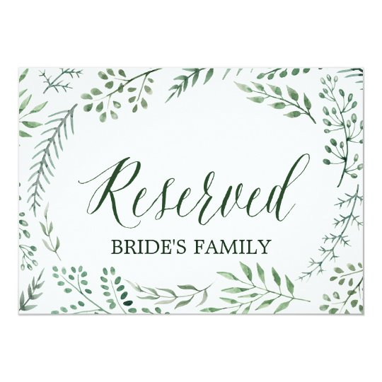 """Le mariage rustique vert de guirlande """"a réservé"""" carton d'invitation  12,7 cm x 17,78 cm"""