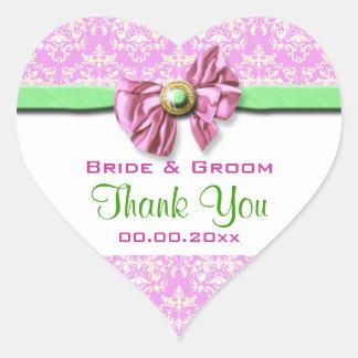 Le mariage vert blanc rose vous remercient sticker cœur