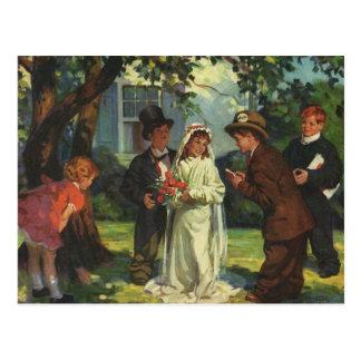 Le mariage vintage, enfants de marié de jeune carte postale