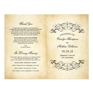 Le mariage vintage programme le Flourish élégant Tract Personnalisé