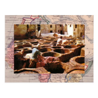 Le Maroc, Tannerie en plein air Carte Postale