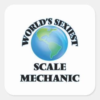 Le mécanicien de l'échelle le plus sexy du monde autocollant carré