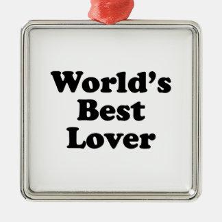 Le meilleur amant du monde ornement carré argenté