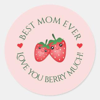 Le meilleur amour du jour de mère de maman jamais sticker rond
