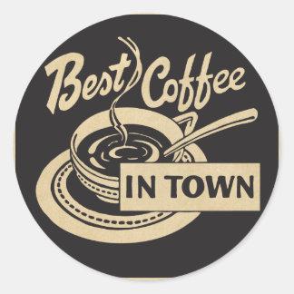 Le meilleur café en ville sticker rond