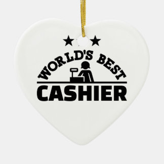 Le meilleur caissier du monde ornement cœur en céramique