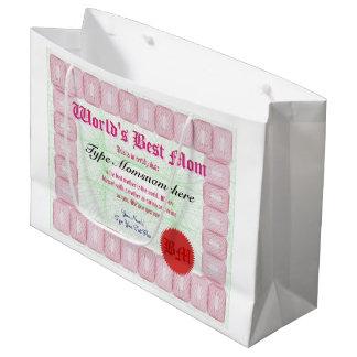 Le meilleur certificat de récompense de la maman grand sac cadeau