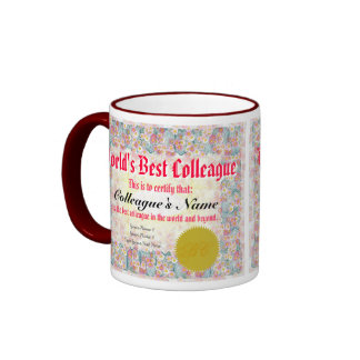 Le meilleur certificat du collègue du monde mugs