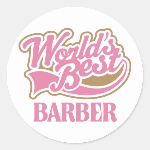 Le meilleur coiffeur des mondes roses mignons autocollant rond