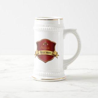 Le meilleur homme de plaque rouge et goldtone chope à bière