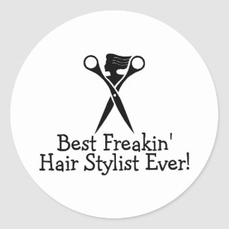 Le meilleur noir de coiffeur de Freakin jamais Sticker Rond