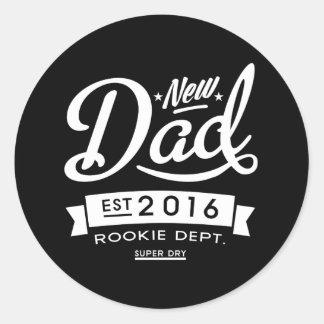 Le meilleur nouveau papa foncé 2016 sticker rond