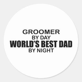 Le meilleur papa du monde - Groomer Autocollants Ronds