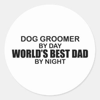 Le meilleur papa du monde - Groomer de chien Adhésif Rond