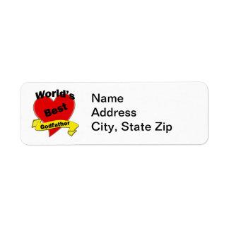 Le meilleur parrain du monde étiquette d'adresse retour