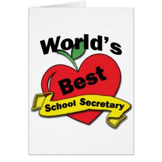 Le meilleur secrétaire de l'école du monde carte de vœux