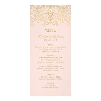 Le menu de dîner de mariage carde le charme