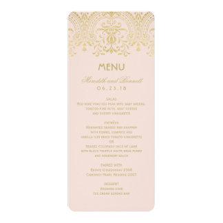 Le menu de dîner de mariage carde le charme carton d'invitation  10,16 cm x 23,49 cm