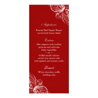 Le menu de mariage carde le blanc rouge de modèle de double carte