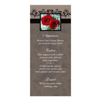 Le menu de mariage carde le coeur de roses rouges carte double
